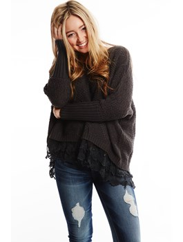 Oversized Sweater with Lace Trim