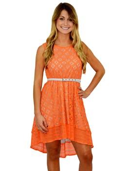 Lace Belted Tank Dress
