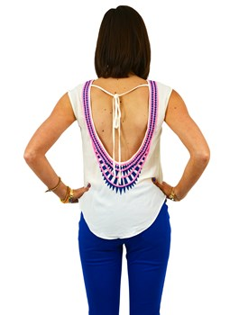 Low Back Embroidered Top