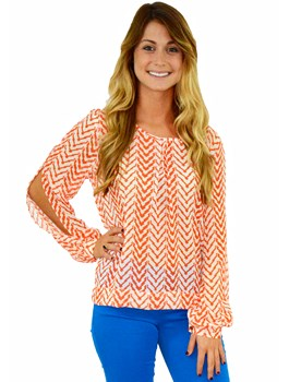 Long Sleeve Chevron Top with Back Tie