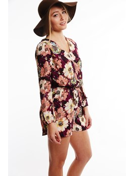 Floral Romper with Lace Back