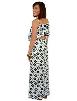 Backless Ruffle Printed Dress