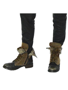Leopard Fold Down Combat Boots