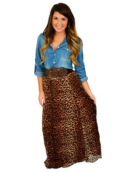 Leopard Pleated Maxi Skirt