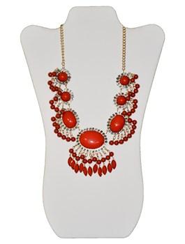 Bead Fringe Oval Necklace