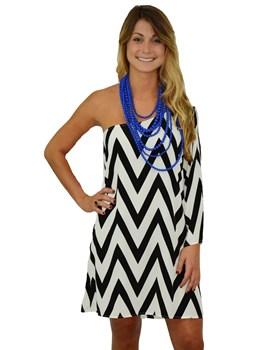 One Shoulder Chevron Dress