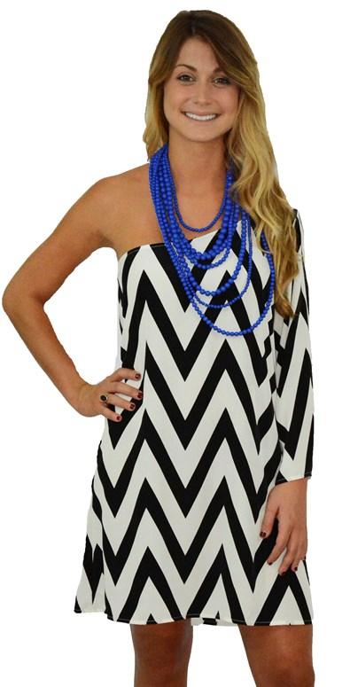 One Shoulder Chevron Dress : dresses : Women's Online Boutique ...