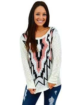 Aztec Front Printed Sweater